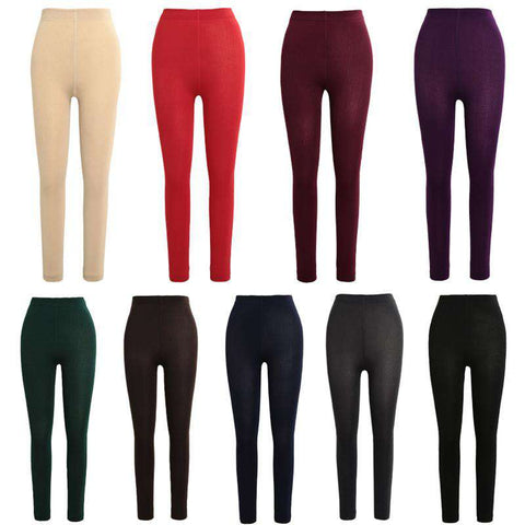 Sexy Women Autumn Winter Leggings Solid High Elastic Waist Thick Warm Tights Bodycon Pants gallery 4