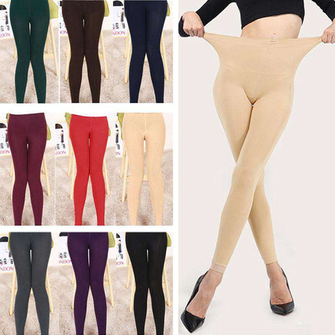 Sexy Women Autumn Winter Leggings Solid High Elastic Waist Thick Warm Tights Bodycon Pants gallery 5