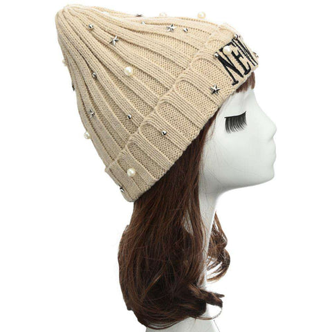 New Unisex Women Men Beanie Hat Letter Embroidery Pearl Star Solid Warm Hip-Hop Cool Knitted Cap Headwear gallery 18