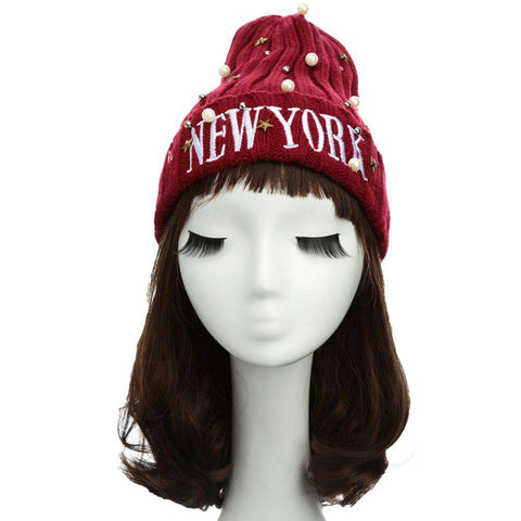 New Unisex Women Men Beanie Hat Letter Embroidery Pearl Star Solid Warm Hip-Hop Cool Knitted Cap Headwear gallery 6