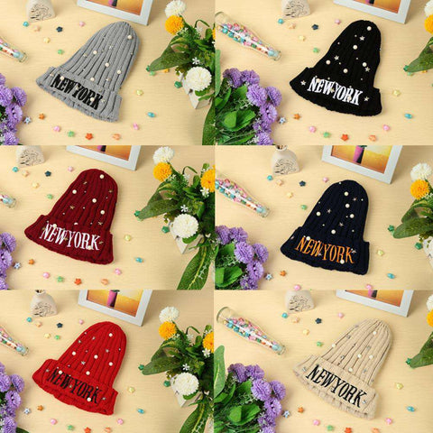 New Unisex Women Men Beanie Hat Letter Embroidery Pearl Star Solid Warm Hip-Hop Cool Knitted Cap Headwear gallery 3