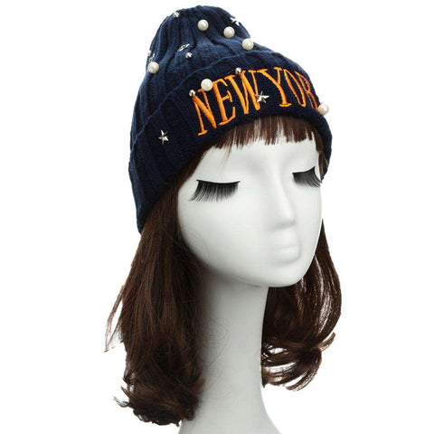 New Unisex Women Men Beanie Hat Letter Embroidery Pearl Star Solid Warm Hip-Hop Cool Knitted Cap Headwear gallery 5