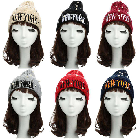 New Unisex Women Men Beanie Hat Letter Embroidery Pearl Star Solid Warm Hip-Hop Cool Knitted Cap Headwear gallery 15