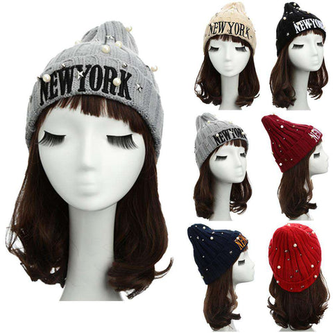 New Unisex Women Men Beanie Hat Letter Embroidery Pearl Star Solid Warm Hip-Hop Cool Knitted Cap Headwear gallery 12