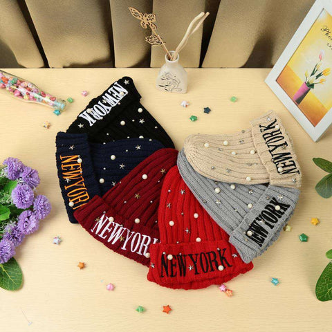 New Unisex Women Men Beanie Hat Letter Embroidery Pearl Star Solid Warm Hip-Hop Cool Knitted Cap Headwear gallery 13