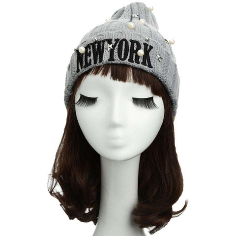New Unisex Women Men Beanie Hat Letter Embroidery Pearl Star Solid Warm Hip-Hop Cool Knitted Cap Headwear gallery 11