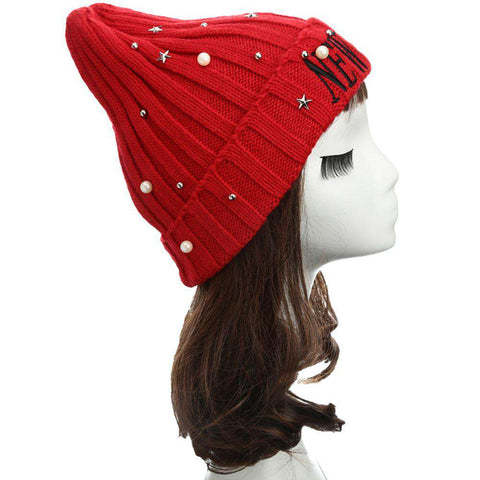 New Unisex Women Men Beanie Hat Letter Embroidery Pearl Star Solid Warm Hip-Hop Cool Knitted Cap Headwear gallery 22