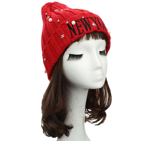 New Unisex Women Men Beanie Hat Letter Embroidery Pearl Star Solid Warm Hip-Hop Cool Knitted Cap Headwear gallery 23