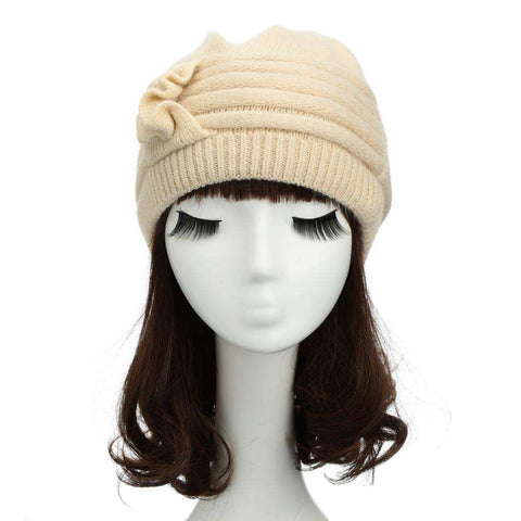 New Fashion Women Knitted Hat Ruffle Ornament Many Colors Thick Warmer Cap Headwear gallery 8