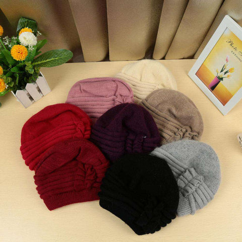 New Fashion Women Knitted Hat Ruffle Ornament Many Colors Thick Warmer Cap Headwear gallery 10