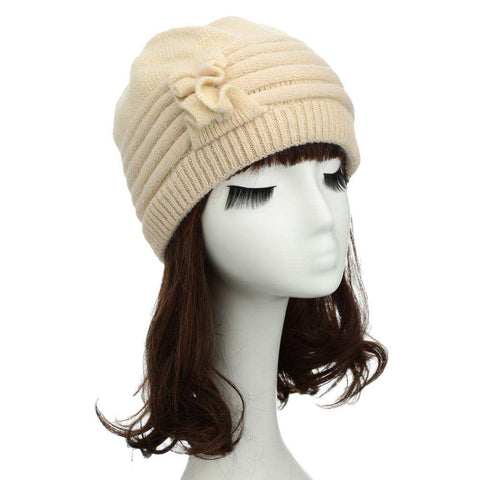 New Fashion Women Knitted Hat Ruffle Ornament Many Colors Thick Warmer Cap Headwear gallery 7