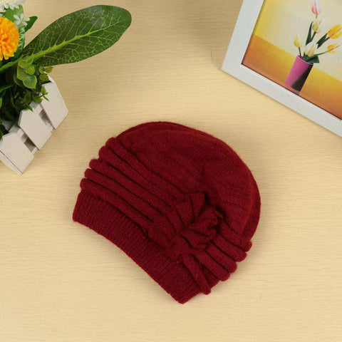 New Fashion Women Knitted Hat Ruffle Ornament Many Colors Thick Warmer Cap Headwear gallery 11