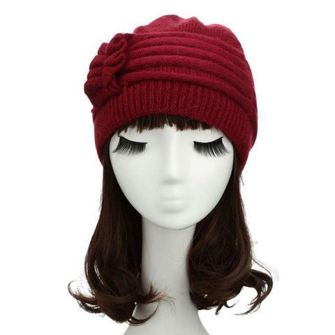 New Fashion Women Knitted Hat Ruffle Ornament Many Colors Thick Warmer Cap Headwear gallery 15