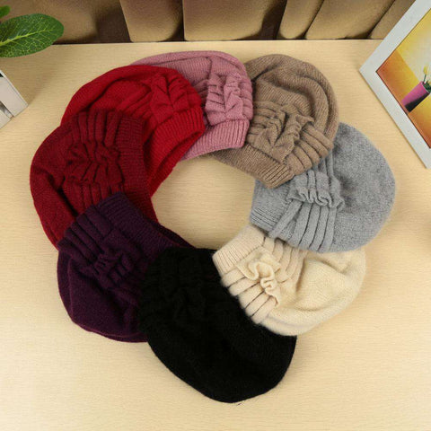 New Fashion Women Knitted Hat Ruffle Ornament Many Colors Thick Warmer Cap Headwear gallery 4