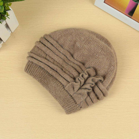 New Fashion Women Knitted Hat Ruffle Ornament Many Colors Thick Warmer Cap Headwear gallery 1