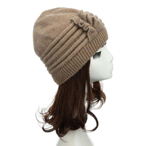 New Fashion Women Knitted Hat Ruffle Ornament Many Colors Thick Warmer Cap Headwear gallery 2