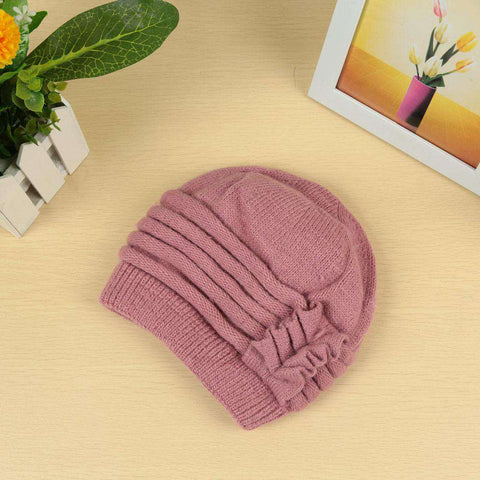 New Fashion Women Knitted Hat Ruffle Ornament Many Colors Thick Warmer Cap Headwear gallery 21