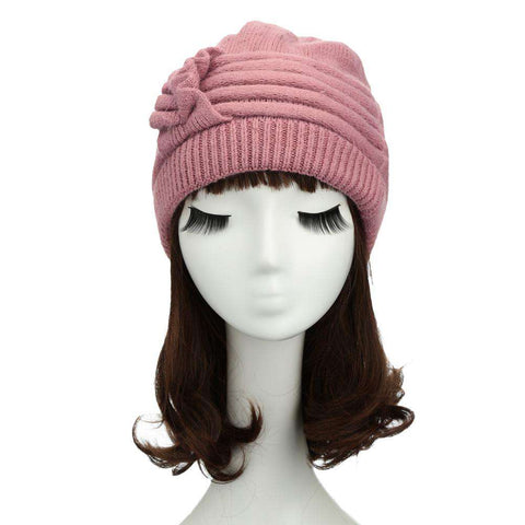 New Fashion Women Knitted Hat Ruffle Ornament Many Colors Thick Warmer Cap Headwear gallery 23