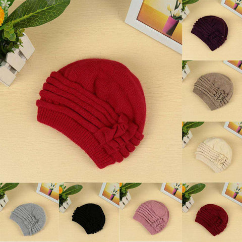 New Fashion Women Knitted Hat Ruffle Ornament Many Colors Thick Warmer Cap Headwear gallery 22