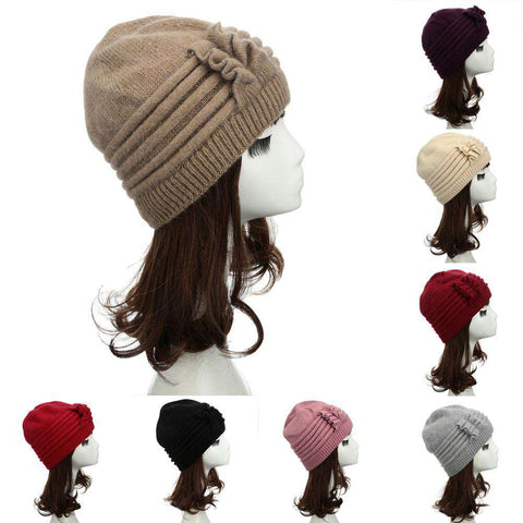 New Fashion Women Knitted Hat Ruffle Ornament Many Colors Thick Warmer Cap Headwear gallery 19