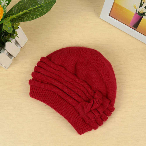 New Fashion Women Knitted Hat Ruffle Ornament Many Colors Thick Warmer Cap Headwear gallery 16
