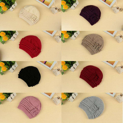 New Fashion Women Knitted Hat Ruffle Ornament Many Colors Thick Warmer Cap Headwear gallery 20
