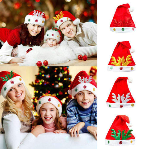 Adult Kids Christmas Hat Santa Claus Hat Antler Snowflake Family Party Cap Holiday Decoration Ornaments gallery 27
