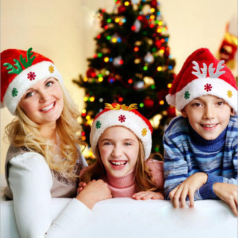 Adult Kids Christmas Hat Santa Claus Hat Antler Snowflake Family Party Cap Holiday Decoration Ornaments gallery 21