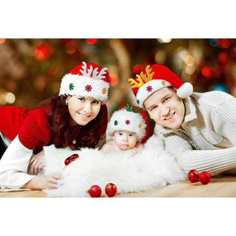 Adult Kids Christmas Hat Santa Claus Hat Antler Snowflake Family Party Cap Holiday Decoration Ornaments gallery 15