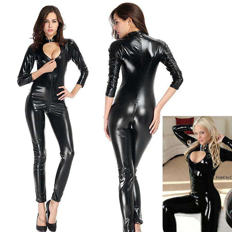 Sexy Women Lingerie Jumpsuit PU Leather Stand Collar Long Sleeve Hollow Out Bodycon Rompers Playsuit Black gallery 1