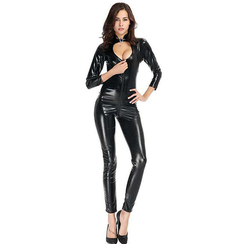 Sexy Women Lingerie Jumpsuit PU Leather Stand Collar Long Sleeve Hollow Out Bodycon Rompers Playsuit Black gallery 13