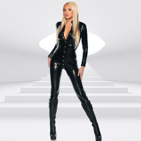 Sexy Women Patent Leather Bodysuit High Neck Long Sleeve Button Skinny Bodycon Jumpsuit Teddy Lingerie Catsuit Black gallery 1