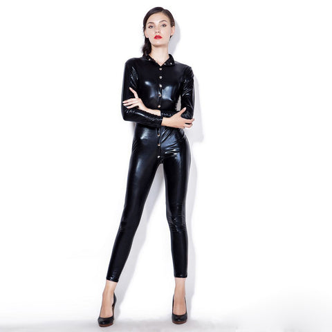 Sexy Women Patent Leather Bodysuit High Neck Long Sleeve Button Skinny Bodycon Jumpsuit Teddy Lingerie Catsuit Black gallery 4
