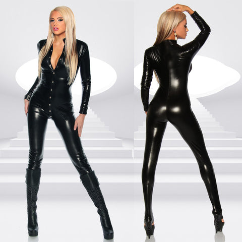 Sexy Women Patent Leather Bodysuit High Neck Long Sleeve Button Skinny Bodycon Jumpsuit Teddy Lingerie Catsuit Black gallery 3