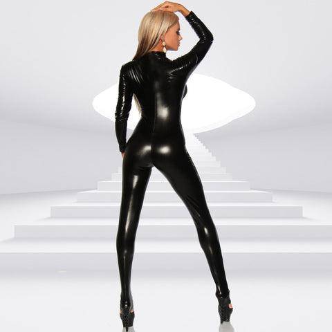 Sexy Women Patent Leather Bodysuit High Neck Long Sleeve Button Skinny Bodycon Jumpsuit Teddy Lingerie Catsuit Black gallery 5