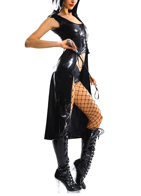 Sexy Women Leather Gothic Punk Dress Hooded Wetlook Coat Gown Costume Teddy Lingerie Suit Black gallery 2