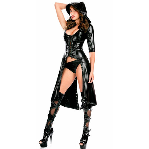 Sexy Women Leather Gothic Punk Dress Hooded Wetlook Coat Gown Costume Teddy Lingerie Suit Black gallery 1