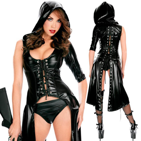 Sexy Women Leather Gothic Punk Dress Hooded Wetlook Coat Gown Costume Teddy Lingerie Suit Black gallery 3
