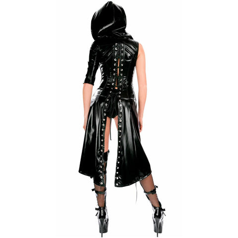 Sexy Women Leather Gothic Punk Dress Hooded Wetlook Coat Gown Costume Teddy Lingerie Suit Black gallery 4