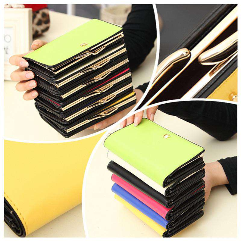 Korean Fashion Women Purse PU Leather Wallet Long Clutch Bag Pouch Card Holders Rose