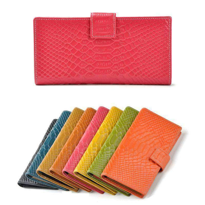 Fashion Women Genuine Leather Purse Crocodile Pattern Candy Color Clutch Bag Wallet Brown
