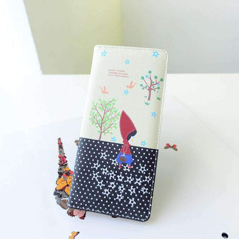 Fashion Women PU Leather Purse Little Red Riding Hood Polka Dot Wallet Candy Color Clutch Bag gallery 28