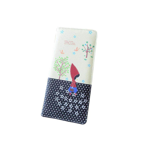 Fashion Women PU Leather Purse Little Red Riding Hood Polka Dot Wallet Candy Color Clutch Bag gallery 26