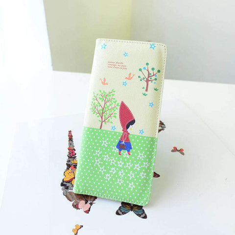 Fashion Women PU Leather Purse Little Red Riding Hood Polka Dot Wallet Candy Color Clutch Bag gallery 13