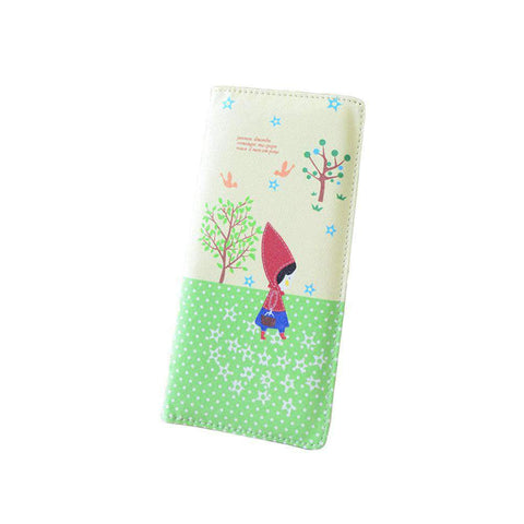 Fashion Women PU Leather Purse Little Red Riding Hood Polka Dot Wallet Candy Color Clutch Bag gallery 11