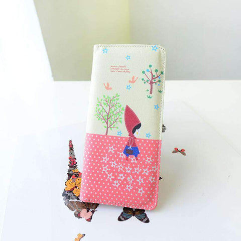 Fashion Women PU Leather Purse Little Red Riding Hood Polka Dot Wallet Candy Color Clutch Bag gallery 2