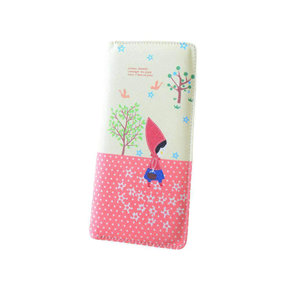 Fashion Women PU Leather Purse Little Red Riding Hood Polka Dot Wallet Candy Color Clutch Bag
