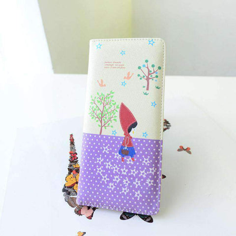 Fashion Women PU Leather Purse Little Red Riding Hood Polka Dot Wallet Candy Color Clutch Bag gallery 8