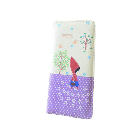 Fashion Women PU Leather Purse Little Red Riding Hood Polka Dot Wallet Candy Color Clutch Bag gallery 6