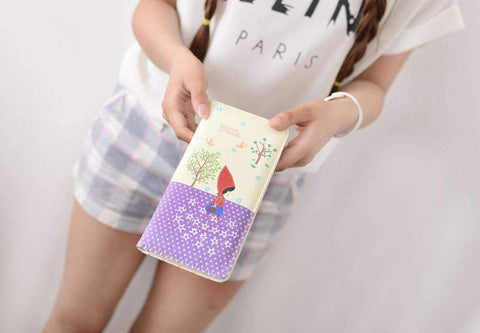 Fashion Women PU Leather Purse Little Red Riding Hood Polka Dot Wallet Candy Color Clutch Bag gallery 9